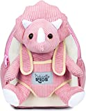 Naturally KIDS Small Dinosaur Backpack - Dinosaur Toys for Kids 3-5 - Toddler Backpack for Girl w Stuffed Animal - Gifts for 3 Year Old Boys - w Pockets & Reflective Logo - Backpack w Pink Triceratops