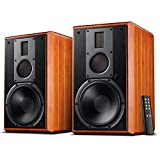 Swans M5A Hi-Fi Active Bookshelf Speakers, Living Room Speaker with 8 inch Woofer, Explosive Bass Sound for Big Room, 3 Way Crossover, Classic Design, Solid Wood Enclosures.