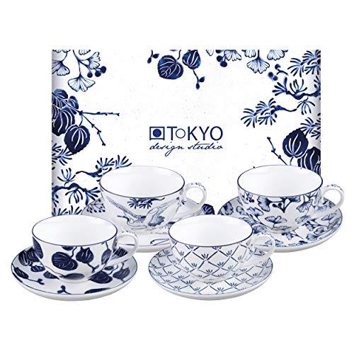 TOKYO design studio Flora Japonica 4-er Tassen-Set blau-weiß mit Untertassen, Ø 10 cm, 6,5 cm hoch, 250 ml, asiatisches Porzellan, Japanisches Blumen-Design, inkl. Geschenk-Verpackung
