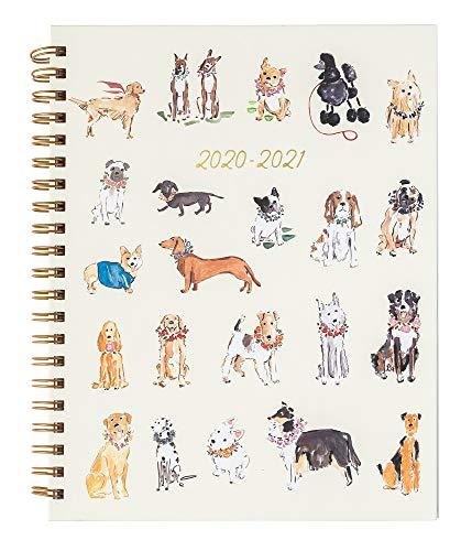 Agenda espiral Eccolo 2019-2020, tamanho grande, para mesa, 18 meses com abas mensais e semanais, 21,6 x 27,9 cm, Watercolor Dogs