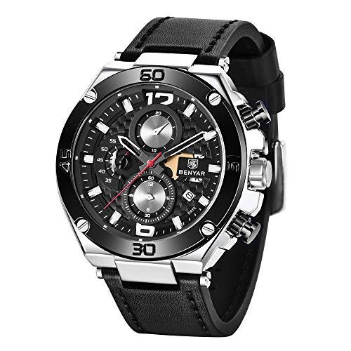 BENYAR Herren Uhr wasserdichte Chronograph Uhren Analog Quarz Lederband Armband Uhr für Männer