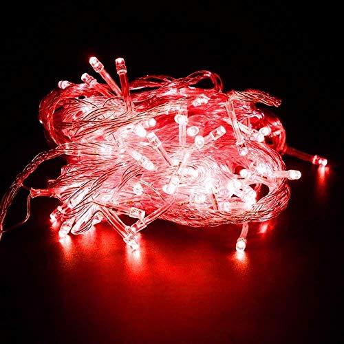 GFSDDS kerstverlichting vakantie krans lichtketting voor feestjes slaapkamer Kerstmis bruiloft sprookjes mini-lampjes, rood, 110V