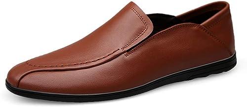 Jingkeke Herren Casual Driving Loafers Bequeme und atmungsaktive Weißhe Reine Farbe Mokassins Stiefelschuhe Dauerhaft (Farbe   Braun, Größe   43 EU)