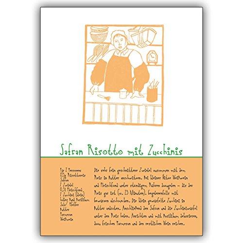 16 Koch Grusskarten (16er Set): Safran Risotto mit Zucchinis Rezept für vegetarische Freunde • edle Klappkarte mit Umschlag als lieber Gruss für Sie