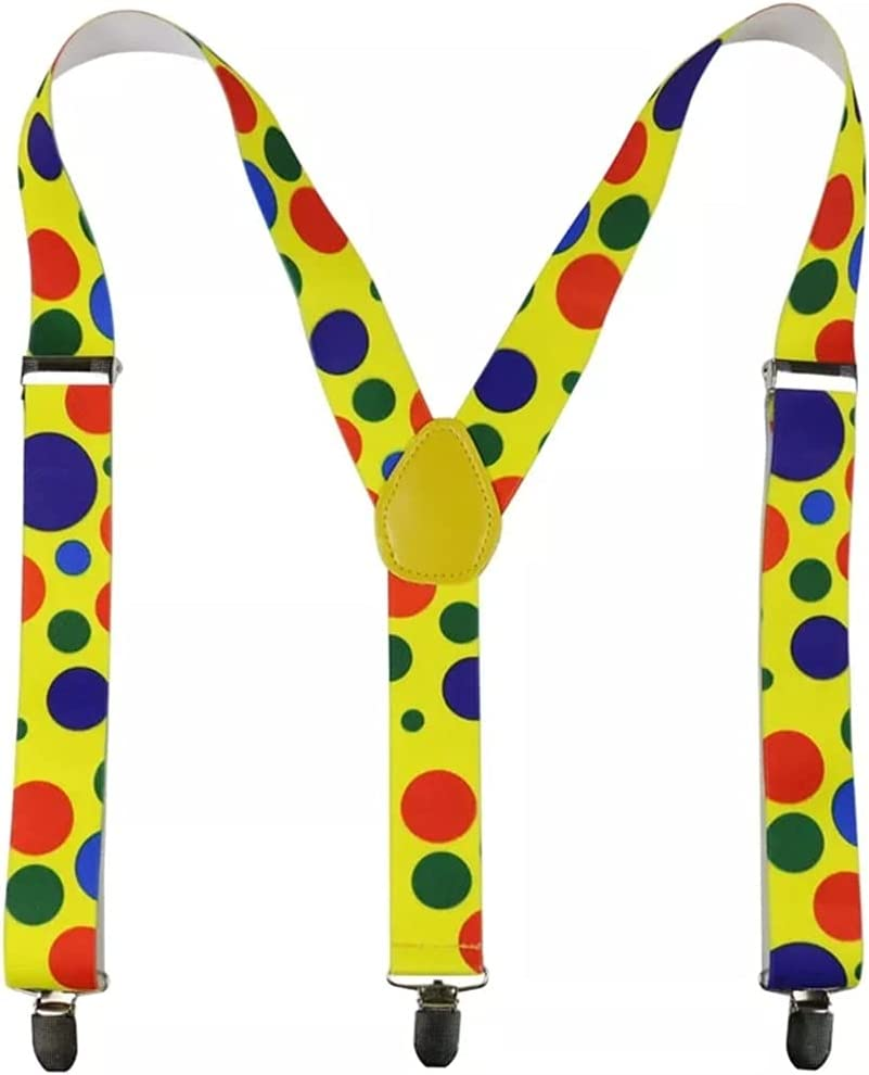 ZYKBB 3.5cm Wide Adjustable Y-Back Yellow Polka Dot suspenders for Womens Mens (Color : A, Size : As the picture shows)