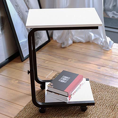 JOISCOPE Beistelltische mit Rädern, bewegliche Tische im Industrie Design, geeignet für kleine Räume, Schlafzimmer, Wohnzimmer, Wohnheim, Büro (Weiß)