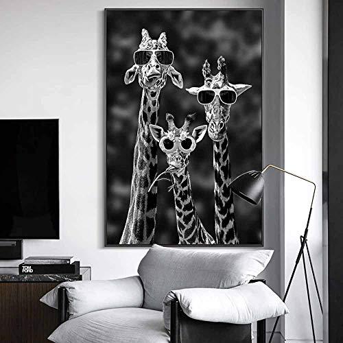 Jirafa con gafas de sol, carteles e impresiones artísticos divertidos, murales de animales en blanco y negro sobre lienzo, imágenes artísticas, decoración del hogar