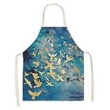 Delantal de Cocina para Mujer con diseño de Mariposa de Ciervo Dorado, Babero de Lino de algodón Puro,...