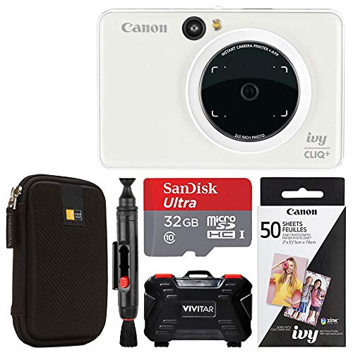 Canon Ivy CLIQ + Instant Camera Printer (Pearl White) + Canon 2 x 3 Zink Photo Paper Pack (50 Sheets) + SanDisk Ultra 32GB microSDHC Memory Card + Portable Case + Vivitar Memory Card Case (24 Slots)