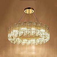 HLL シャンデリア、ラウンド直径50Cmゴールドクリスタルシャンデリア、ポストモダンなシンプルなホテルレストランリビングルームダイニングルーム3色調光装飾