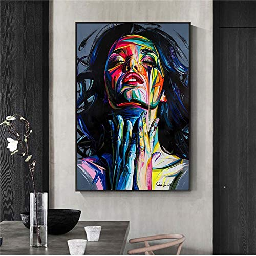 KWzEQ Rahmenlose Malerei Abstrakte Pop-Art-Straßengraffiti-Wandkunstmädchen-Hauptdekoration auf LeinwandAY6799 50X75cm