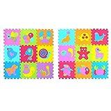 JIAYAN Baby EVA Foam Play Puzzle Mat / 9pcs / Lot Baldosas de Ejercicio entrelazadas Tapete de Piso para niños, Cada 30cmX30cm Alfombra para niños pequeños, 18pcs P010019G300918,300 300 9mm