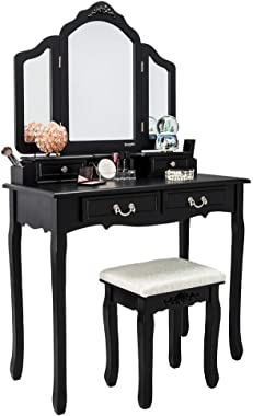 VINGLI Vanity Set Black Makeup Vanity Table Set with Tri-Folding Mirror and 8 Necklace Hooks Dressing Table with Drawers &amp