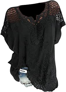 FRPE Womens Casual Embroidery Short-Sleeve Hollow Out Batwing Sleeve Top T-Shirt Blouse