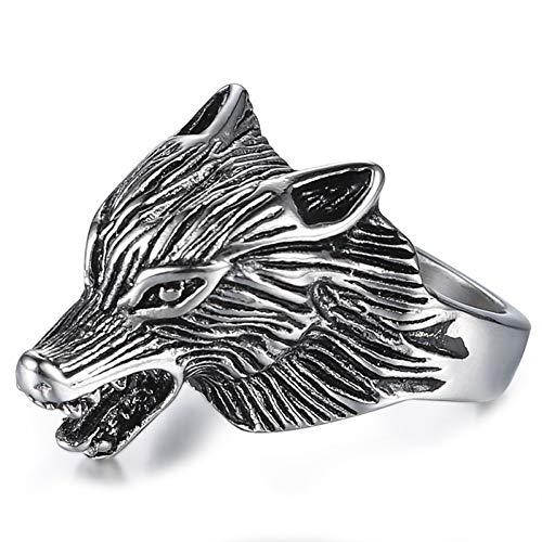 Sping Jewelry Game of Thrones Eiswolf Ring Haus Stark von Winterfell Edelstahl Schmuck für Männer Frauen Ringe