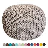 Taburete Knitting Pouf Pouffe Pouf Grobstrick óptica de Color Beige Ø 55 cm de Altura 37 cm Extra de Color de Alta Densidad