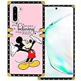 DISNEY COLLECTION Samsung Galaxy Note 10 Square Case Mickey Mouse Luxury Cute Design Metal Decoration Full Protective Soft TPU Shockproof Back Cover 6.3 Inch