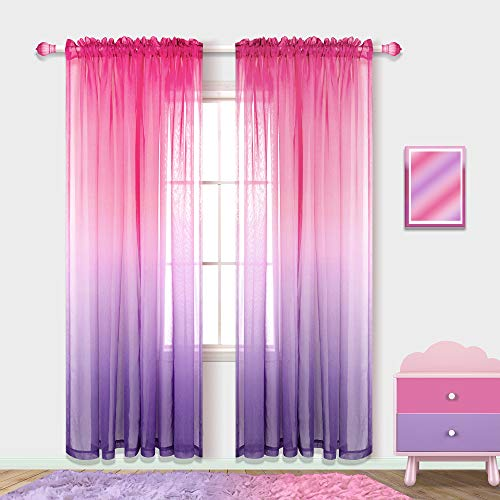 Room Decor for Teen Girls Aesthetic Curtains Sheer Wall Decor Purple and Pink Room Decorations for Bedroom