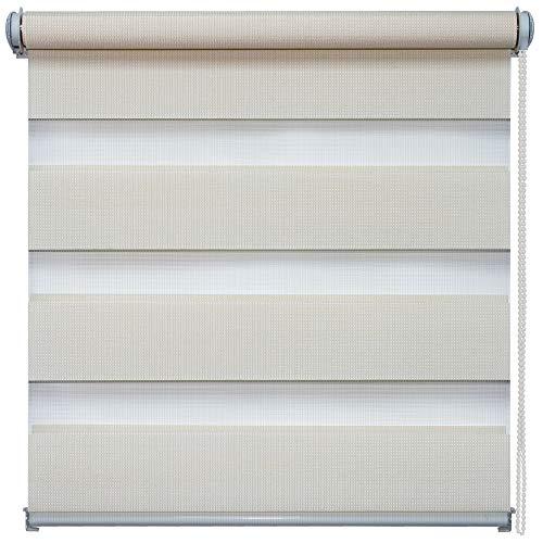 Doppelrollo Natural, Creme, 105x150cm - Duo-Rollo Klemm Fix mit Klemmträger, Fenster-Rollo/Seitenzug-Rollo ohne Bohren, lichtdurchlässig und verdunkelnd