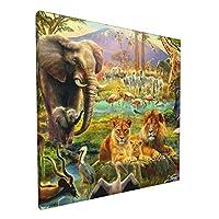 森の動物 山下 風景 アートデリ ポスター パネル 絵キャンバスの壁アート 木製の枠 アートワーク 壁飾り 壁ポスター おしゃれ 30*30cm 玄関やリビング お祝いや贈り物に 気分転換 癒し