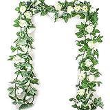 mi ji Flores Artificiales 2,5M simulación Flor de Rose Rattan Vine Wisteria Seda Garland Colgando de la Rota por Arco de la Boda decoración de la Pared del jardín Decoración-1pc para su casa