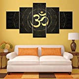 Indian Wall Art for Living Room Sanskrit Om Paintings Black and White Pictures House Decor Abstract Aum Artwork Native Gift Framed Ready to Hang Framed Gallery-Wrapped Ready to Hang(60''W x 32''H)