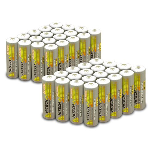 Hitech - 40pcs Size AA Ni-MH 2500mAh Rechargeable Batteries*Tech QC-USA*for All Wireless Products.