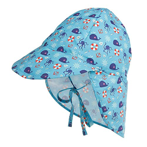 Cassiecy Baby Sonnenhut Kinder Unisex Sonnenmütze Atmungsaktiver Kinder Strand Mützen mit Bindebändern und Nackenschutz Sommermütze(zy,s)