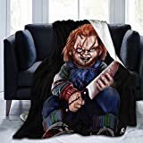 Voglimo Fluffy Blankets Horror Movie Chucky Doll Throw Blanket Luxury Fleece Blanket for Bed Farmhouse Outdoor Living Room for All Season 80'x60'