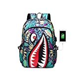 KEBEIXUAN Kids Backpack Unisex Bookbag With USB Interface Schoolbag Made of Oxford Cloth as the Main Material, Waterproof and Wear-Resistant(B)