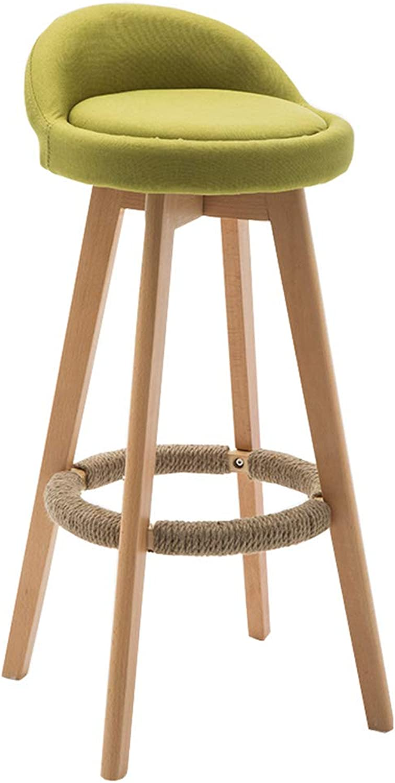 Bar Stool High Stool Dining Chair Fashion Solid Wood High Stool Bar Chair Kitchen Ladder Breakfast Fabric Bar Chair Counter Bench Green