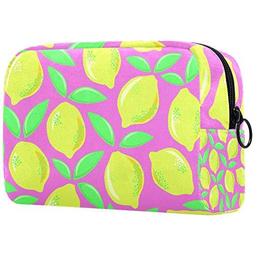 Trousse de toilette pour les femmes Citrons dans les couleurs rétro de soins de la peau cosmétique pratique poche zippée sac à main