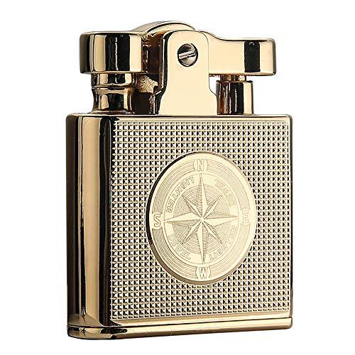 DEWEL オイルライター レトロ クラシック設計 新品 復古 小型 灯油ライター 着火石付き 金属性 携帯便利 ギフト包装 父の日 男性プレゼント(オイル無し)