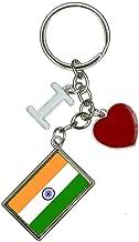 Flag of India I Heart Love Keychain Key Ring
