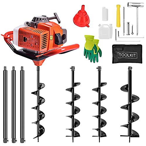 72CC 2 Stroke Auger Post Hole Digger,3KW Petrol Gas Powered Earth Auger with 3 Auger Drill Bits(4inch,8inch,12inch) and 3 Extension Rods for Farm Garden Plant