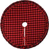 Rosso Quadrato Gonna per Albero di Natale Rosso e Nero Quadretti Gonna di Albero per Decorazioni Albero di Natale (47 Pollici)