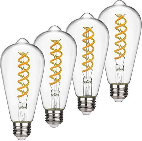 EMITTING ST19 ST58 6W Vintage Edison LED Bulb Soft White 2700K Antique Flexible Spiral LED Filament product image