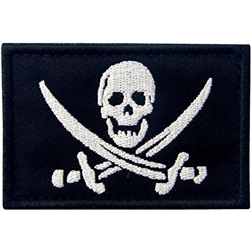 Bandera Pirata Táctico Militar Emblema Moral Aplique Broche Bordado de Gancho y Parche de Gancho y bucle de cierre, Blanco