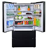 SMETA 36 Inch 22.5 cu ft Counter Depth French Door Refrigerator Bottom Freezer with Auto Ice Maker for Home Kitchen, Black …