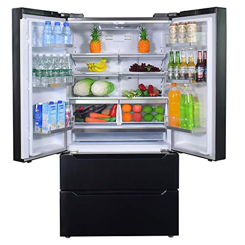 SMETA 36 Inch 22.5 cu ft Counter Depth French Door Refrigerator E-Star Bottom Freezer with Auto Ice Maker for Home, Kitchen, Black