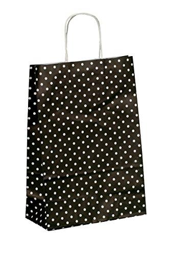 250 Kordel Papiertragetaschen Papiertüten Einkaufstüten aus Papier Geschenktüten mit Papierkordel Henkel schwarz mit weißen Punkten Pünktchen Polka Dots 32+12x40cm - Inkl. Verpackungslizenz in D