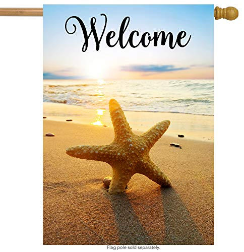 "ShineSnow Beach Starfish Summer Autumn House Flag 28"" x 40"" Double Sided, Polyester Holiday Sunset Tropical Seashore Welcome Yard Garden Flag Banners for Patio Lawn Home Outdoor Decor"