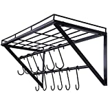 OROPY Wall Mounted Pot Rack Storage Shelf with 2 Tier Hanging Rails 12 S Hooks included, Ideal for Pans, Utensils, Cookware, Plant Black