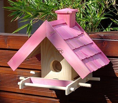 Vogelfutterhaus,BEL-X-VOWA3-pink002 Großes Vogelhäuschen + 5 SITZSTANGEN, KOMPLETT mit Futtersilo + SICHTGLAS für Vorrat PREMIUM Vogelhaus – ideal zur WANDBESTIGUNG – vogelhäuschen, Futterhäuschen WETTERFEST, QUALITÄTS-SCHREINERARBEIT-aus 100% Vollholz, Holz Futterhaus für Vögel, MIT FUTTERSCHACHT Futtervorrat, Vogelfutter-Station Farbe pink rosa rosarot süß, MIT TIEFEM WETTERSCHUTZ-DACH für trockenes Futter - 5