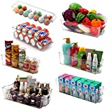 Cadriy Set Of 8 Fridge Organizer Bins, Soda Can Organizer for Refrigerator, Freezer, Pantry, Kitchen, Countertop, Cabinets - Clear Plastic Drink & Canned Food Dispenser