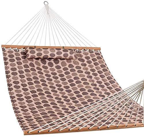 Knoijijuo Dry Hammock 55'Double Quilted Fabric Hammock Swing with Pillows, Romantic Coffee Bean Bar Portable Hammock for Camping Outdoor Patio Garden