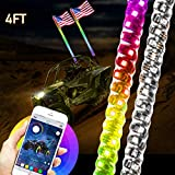 4FT LED Whip Light Chasing Color for UTV ATV 4 Wheeler Powersports Accessories, Bluetooth & RF Wireless Remote, Weatherproof LED Lighted Whip Antenna with USA Flag for RZR Can-Am Polaris, 2pcs