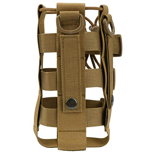 Fippy Tactical Water Bottle Holder Hydration Carrier Bag Molle water Bottle Carrier Pouch for Hunting Walking Running Cycling Hiking (Brown-Hollow out)