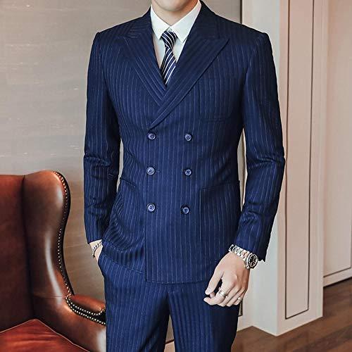 MarXixi Anzug Jacke Anzug Anzug Herren schlankes Zweireiher Business Abendkleid Hochzeitskleid Jacke Hose Weste Herren 3-teiliges Set-Dark_Blue_S_for_41-46_kg