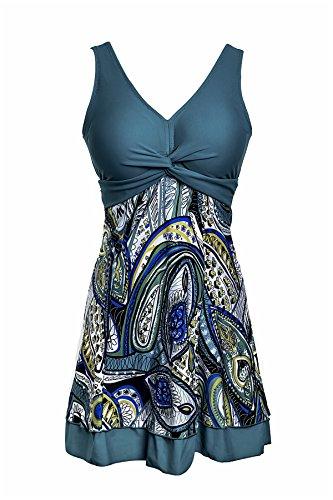NoNoCat One Piece Shaping body Floral Swimwear Plus Size Bathing suit for Women Green 2XL(US 18W- 20W)